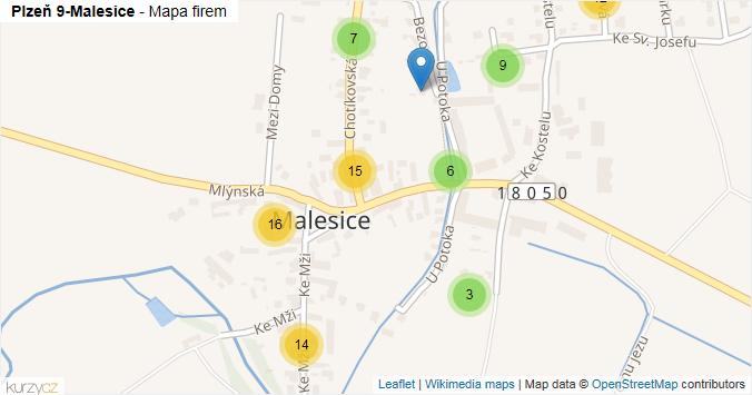 Plzeň 9-Malesice - mapa rozložení firem v městské části.
