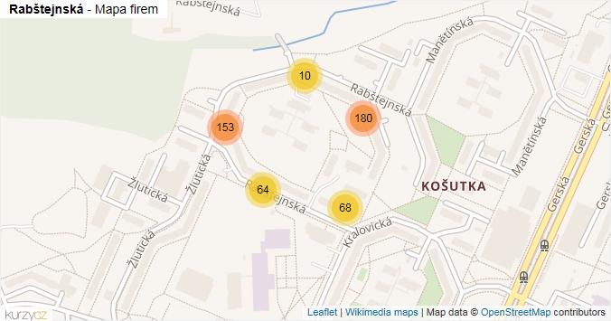 Rabštejnská - mapa rozložení firem v ulici.