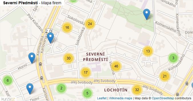 Severní Předměstí - mapa rozložení firem v části obce.