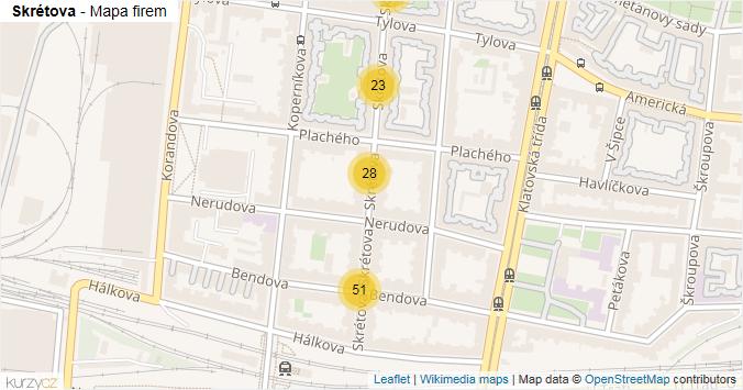 Skrétova - mapa rozložení firem v ulici.