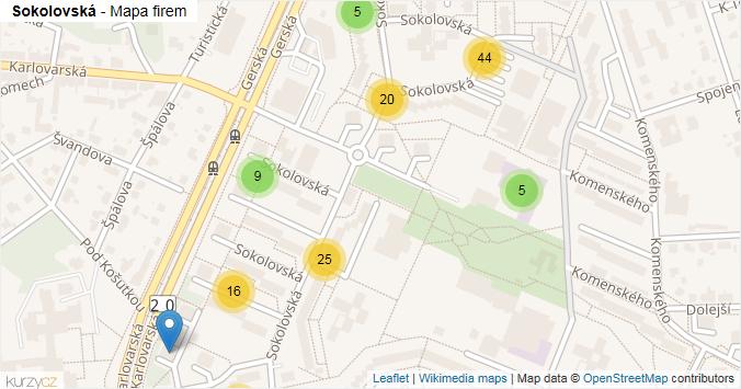 Sokolovská - mapa rozložení firem v ulici.