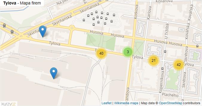 Tylova - mapa rozložení firem v ulici.