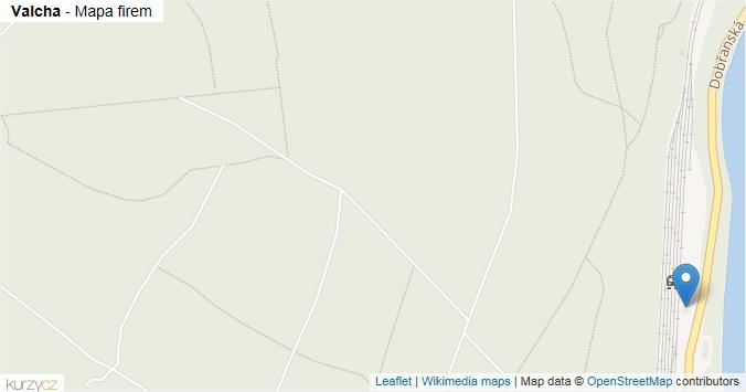 Valcha - mapa rozložení firem v části obce.