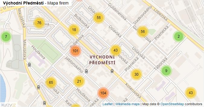 Východní Předměstí - mapa rozložení firem v části obce.