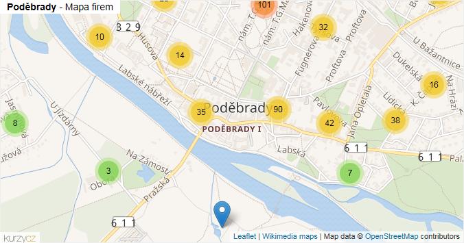 Poděbrady - mapa rozložení firem v obci.