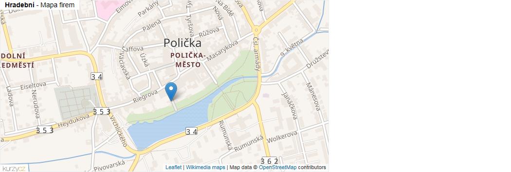 Hradební - mapa rozložení firem v ulici.