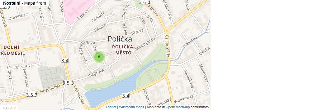 Kostelní - mapa rozložení firem v ulici.