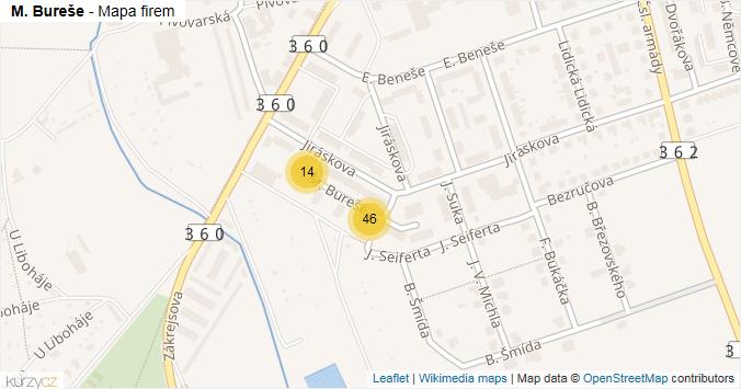 M. Bureše - mapa rozložení firem v ulici.
