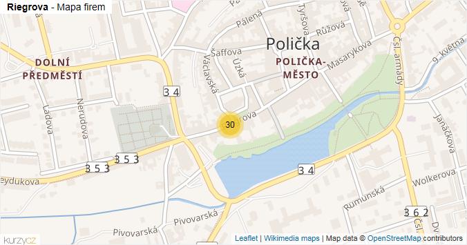 Riegrova - mapa rozložení firem v ulici.