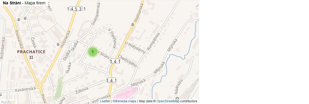 Na Stráni - mapa rozložení firem v ulici.
