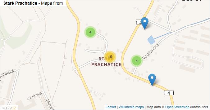 Staré Prachatice - mapa rozložení firem v části obce.