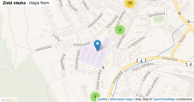 Zlatá stezka - mapa rozložení firem v ulici.