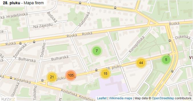 28. pluku - mapa rozložení firem v ulici.
