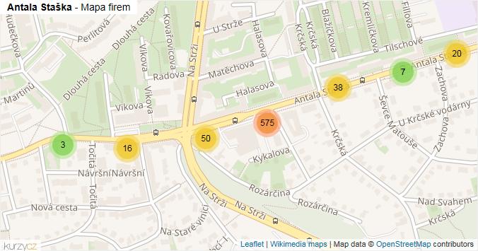 Antala Staška - mapa rozložení firem v ulici.
