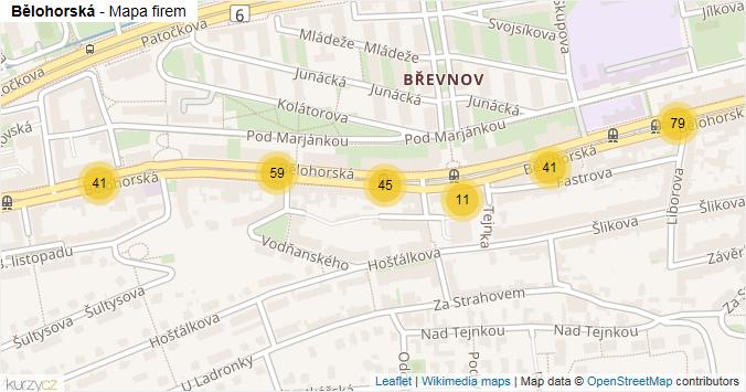 Bělohorská - mapa rozložení firem v ulici.