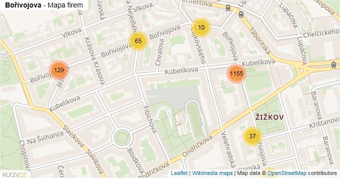 Bořivojova - mapa rozložení firem v ulici.