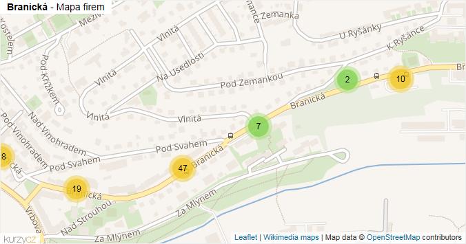 Branická - mapa rozložení firem v ulici.
