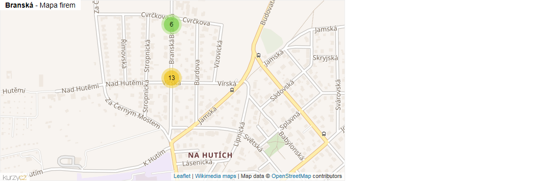 Branská - mapa rozložení firem v ulici.