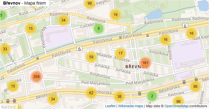 Břevnov - mapa rozložení firem v části obce.