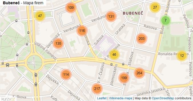 Bubeneč - mapa rozložení firem v části obce.