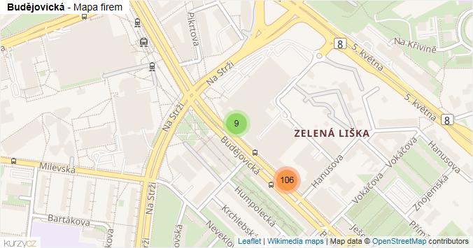 Budějovická - mapa rozložení firem v ulici.