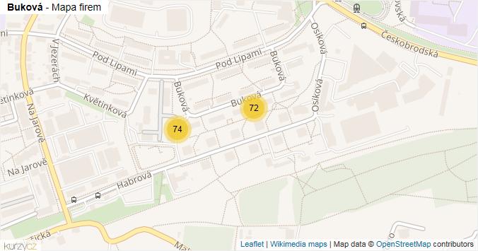 Buková - mapa rozložení firem v ulici.