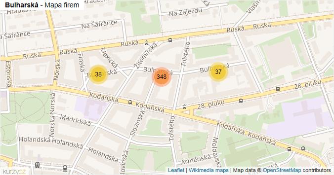 Bulharská - mapa rozložení firem v ulici.