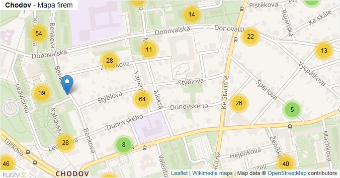 Chodov - mapa rozložení firem v části obce.