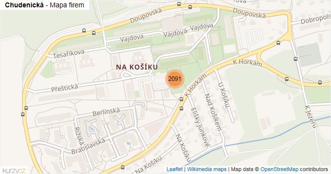 Chudenická - mapa rozložení firem v ulici.
