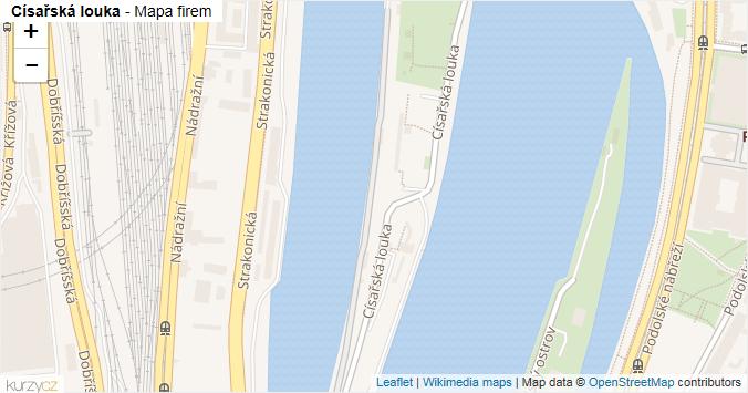 Císařská louka - mapa rozložení firem v ulici.