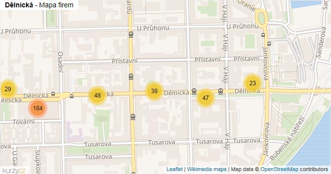 Dělnická - mapa rozložení firem v ulici.