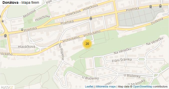 Donátova - mapa rozložení firem v ulici.