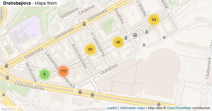 Drahobejlova - mapa rozložení firem v ulici.
