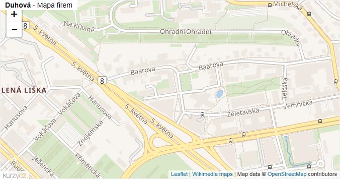 Duhová - mapa rozložení firem v ulici.