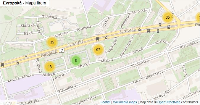 Evropská - mapa rozložení firem v ulici.