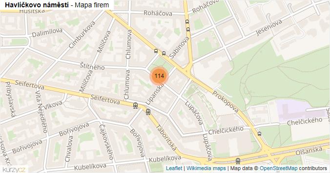 Havlíčkovo náměstí - mapa rozložení firem v ulici.