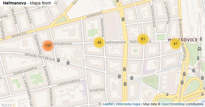 Heřmanova - mapa rozložení firem v ulici.