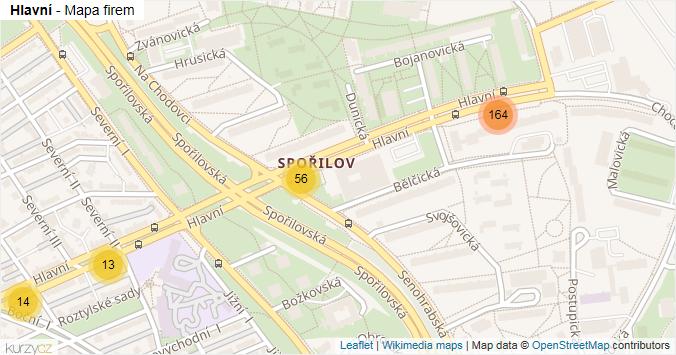 Hlavní - mapa rozložení firem v ulici.