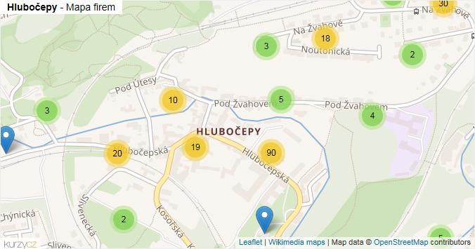 Hlubočepy - mapa rozložení firem v části obce.