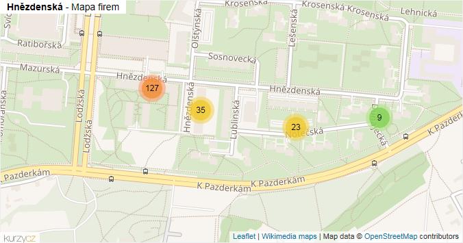 Hnězdenská - mapa rozložení firem v ulici.