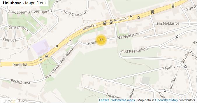 Holubova - mapa rozložení firem v ulici.
