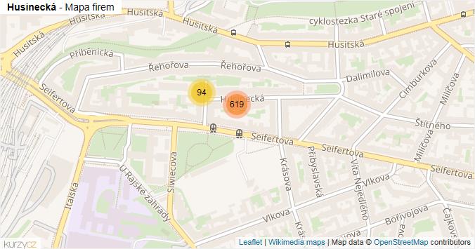 Husinecká - mapa rozložení firem v ulici.
