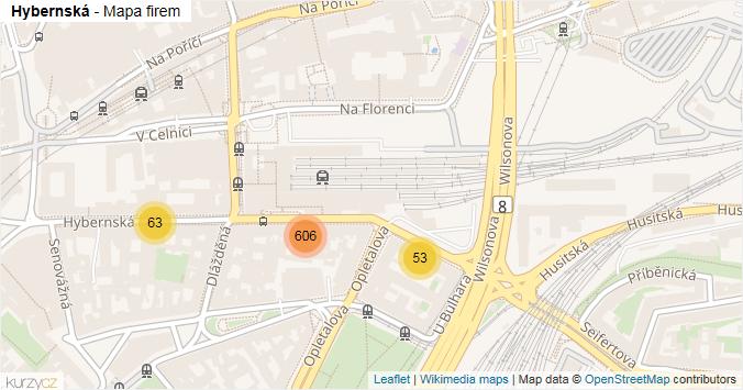 Hybernská - mapa rozložení firem v ulici.