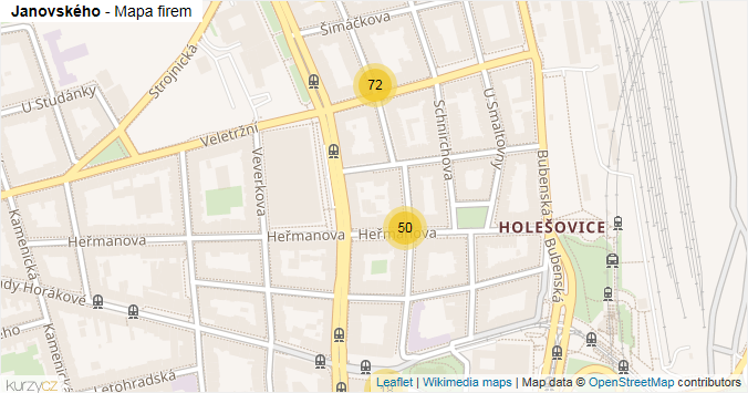 Janovského - mapa rozložení firem v ulici.