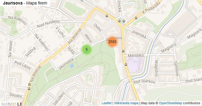 Jaurisova - mapa rozložení firem v ulici.