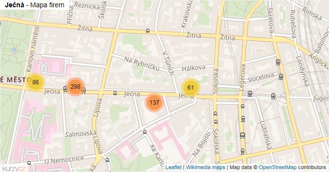 Ječná - mapa rozložení firem v ulici.