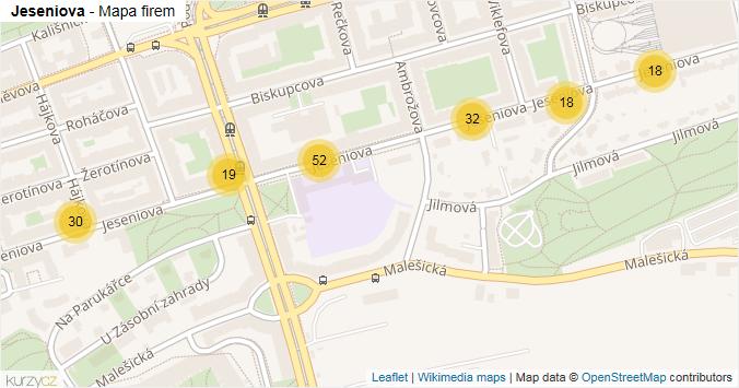 Jeseniova - mapa rozložení firem v ulici.