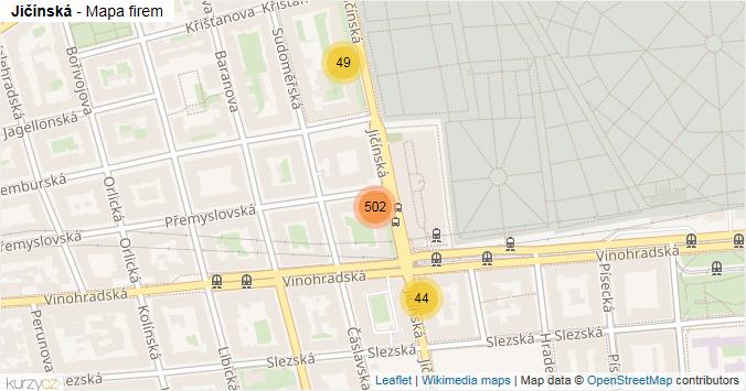 Jičínská - mapa rozložení firem v ulici.