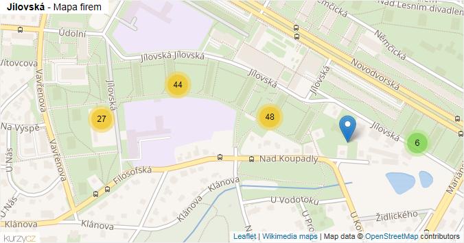 Jílovská - mapa rozložení firem v ulici.
