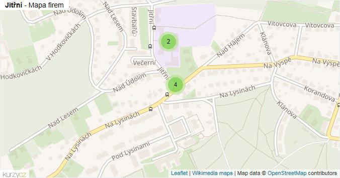 Jitřní - mapa rozložení firem v ulici.